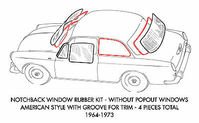 New VW Type 3 Notchback With Popout Window Molding Kit 1964-1973