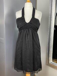 Womens-Black-Size-10-Lipsy-Backless-Dress-Halter-Neck-Embellishments-Night-Out