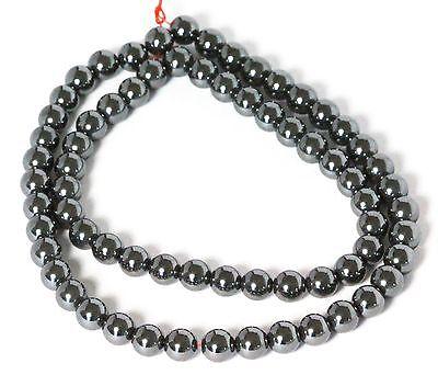 """6 MM Hematite Round Semi precious Gemstone Beads 16"""" Strand /   1.2 MM Hole"""