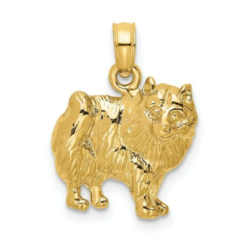 14k 14kt Yellow Gold 2-D /& Polished Pomeranian Dog Charm PENDANT 19.1 mm