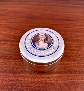 LARGE-EUROPEAN-800-SOLID-SILVER-DRESSER-JAR-W-ENAMEL-PORTRAIT-NO-MONOGRAM