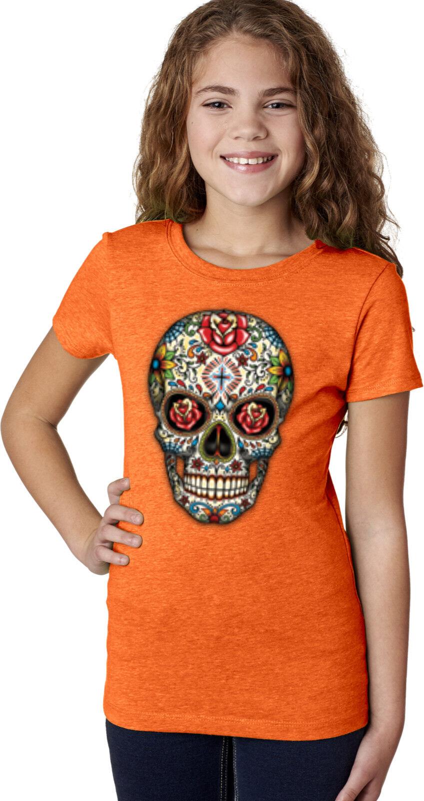 "Girls Rhinestone Suds T-Shirt /"" Colorful Sugar Skull /"" Size 3 to 14 Halloween"