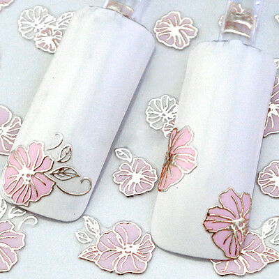 New 24 Sheets 3D Pink Flower Design Manicure Nail Art Sticker Tips Decal Decor