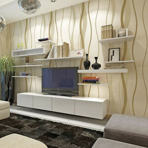 Details About 10m Modern Silver Gray Beige Wallpaper Plain Wave Tv Background Wall Living Room