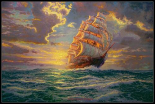 Courageous Voyage DIY Chart Counted Cross Stitch Patterns Needlework 14 ct