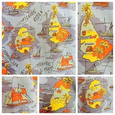 Appena Originale Camicia Hawaiana Barbados M 44 Pollici Anni'70 Mappa Tropicale Stampa Manica Corta-