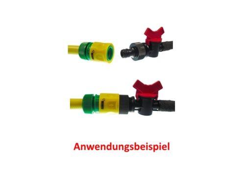 Absperrhahn Hahnanschluss 50m Perlschlauch Tropfschlauch 1//2 1x3-tlg.Set