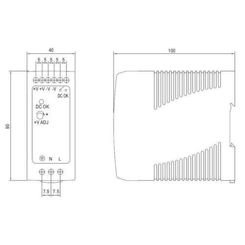 MDR-60-24 ; Hutschienennetzteil Hutschienen Netzteil 60W 24V 2,5A ; MeanWell