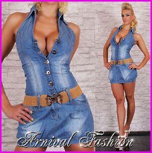 NEW HOT LADIES JEANS DRESS   BELT DENIM CLUBWEAR CASUAL CLOTHING ...