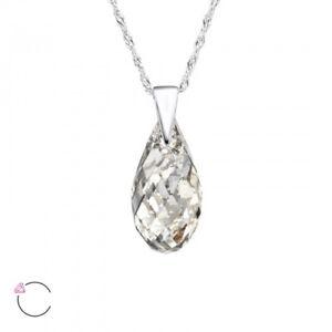 LA CRYSTALE 925 Sterling Silver Silver Patina Crystal Teardrop Pendant Necklace
