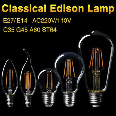 10X E27 4-16W Edison Retro LED Glühwendel Birne G45//A60 Kugel Energiesparlampe