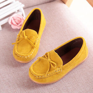 Kids-Girl-Shoes-Yellow-Shallow-Loafers-Ankle-Boots-Soft-Bottom-Child-Shoes-UK8-5