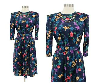 Vintage-80s-Tabby-Blue-Floral-Chain-Neck-Belted-Modest-Secretary-Dress-Size-S