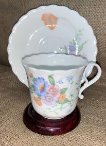 """Narumi Bone China """"Something Blue"""" Floral (pastel) Teacup & Saucer"""