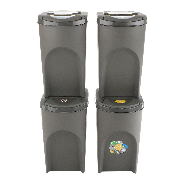 Cubo de Reciclaje Ecólogico 140L Juego de 4 Cubos de Basura 4x35L...