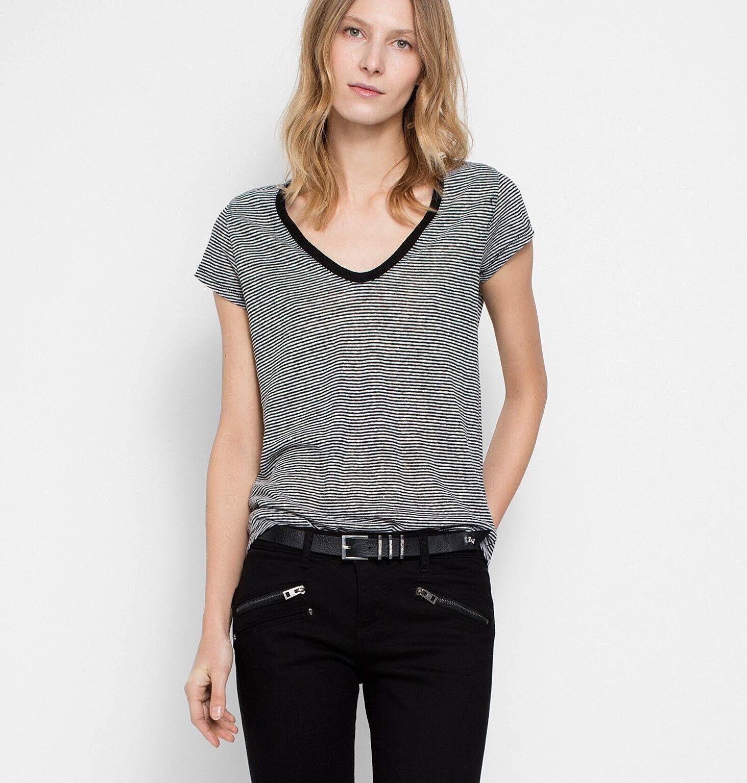NWT Zadig & Voltaire Tiny Linen Striped Top T-Shirt schwarz Größe M