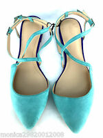 Zara Leather Green Flat Vamp Evening Shoes Size Uk5/eur38/us7.5
