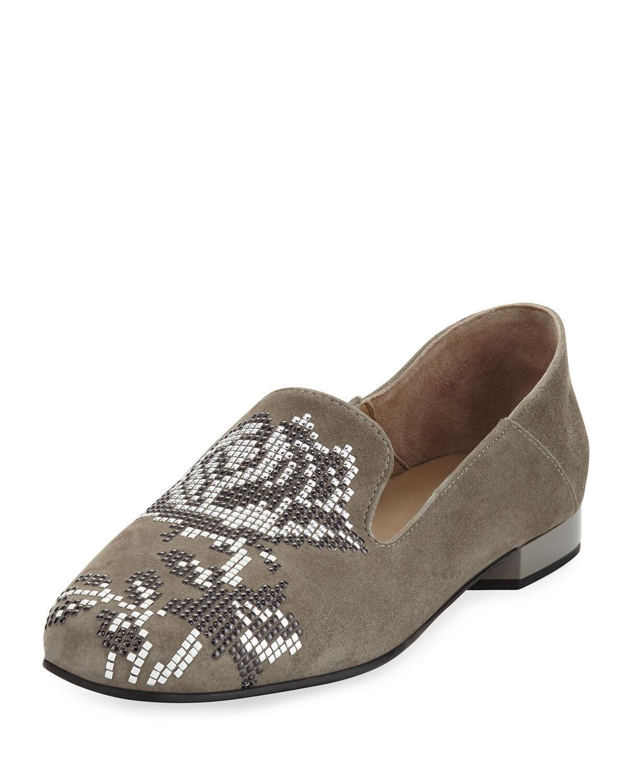 Donald Pliner Suede Floral Embellishment Flats HIRO Loafer Ballet shoes 9.5