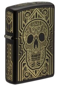 Zippo-Art-Deco-Skull-Design-Black-Matte-Windproof-Pocket-Lighter-218-081168