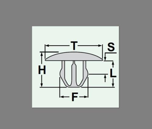 10x Verkleidung Clips Befestigung Klips Halter Universal motorhaube grau 45B