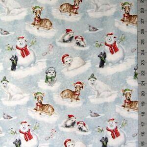 Christmas Fabric - Woodland Friends Animal Scene Blue ...