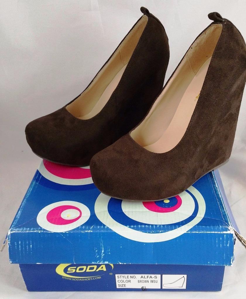 Soda Slip Alfa - S Women's Brown Slip Soda On Platform Wedge Shoes 028e35