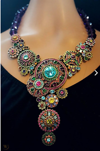 Heidi-Daus-Kaleidoscope-Crystal-Drop-Necklace-BIG-RARE-COLLECTOR-039-S-PC-SOLDOUT