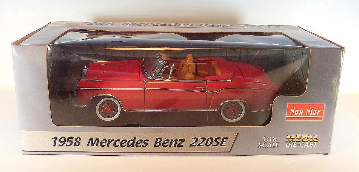 Sun STAR 1/18 MERCEDES BENZ 220se Cabrio Rosso OVP #2814