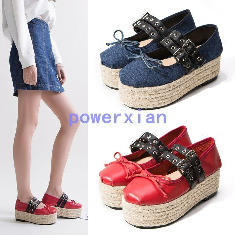 Short femme Metal Plate-forme MARY JANE crepper Fashion New bowknow Boucle Denim Chaussures