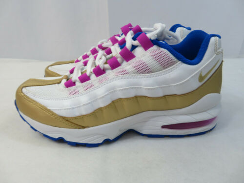 Nike Air Max 95 LE white gold blue girls shoes 310830-120 size 5Y New