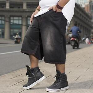 Mens-Shorts-Loose-Fit-Denim-Trousers-Jeans-Hip-Hop-Wide-Leg-Pants-Large-30-46