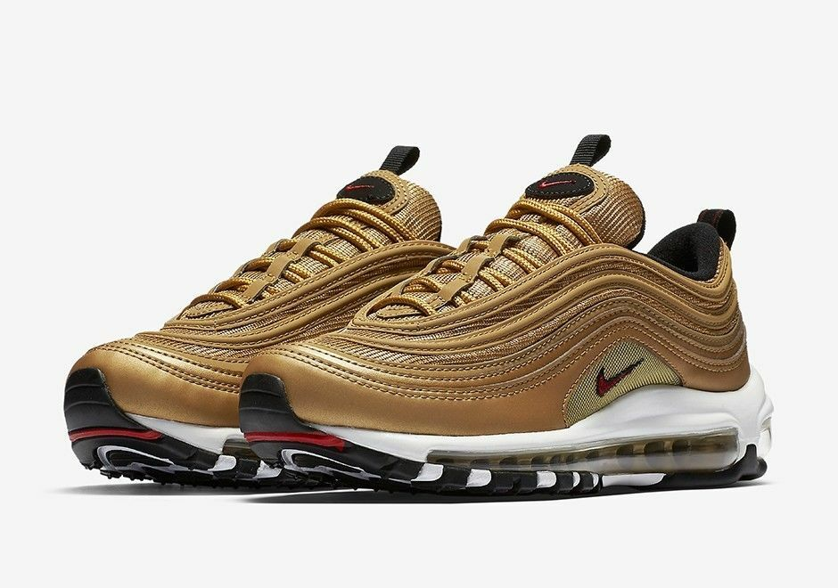 Nike MEN'S Air Max 97 OG QS Metallic gold Varsity Red SIZE 10.5 BRAND NEW