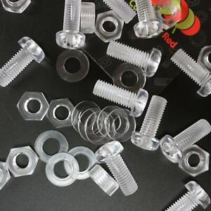 30-x-Acrilico-Bulloni-e-Dadi-M8-x-20mm-in-Plastica-Trasparente-Acrilico-Viti