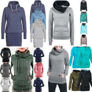 Damen-Kapuzenpullover-Langarmshirt-Sweatshirt-Hoodie-Hoody-Pullover-Kapuzensweat