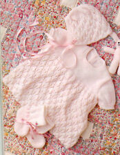 KNITTED BABIES  BONNET, BOOTIES and MITTENS..  PATTERN.ONLY worked in 3 ply