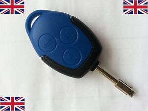 Fits-Ford-Transit-Connect-Blue-3-Button-Remote-Key-Fob-Case-Shell-Uncut-Blade