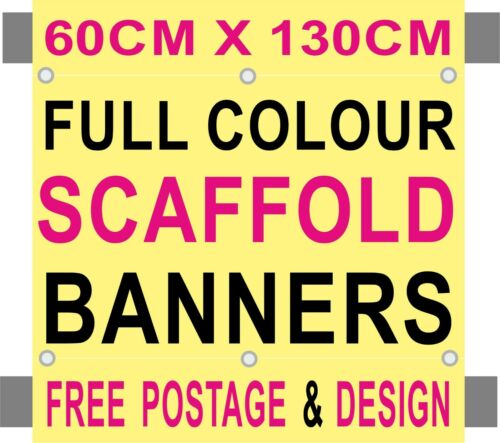 MULTIPLE SIZES PVC SCAFFOLDING BANNERS PRINTED  SIGN with pole hems FREE POSTAGE