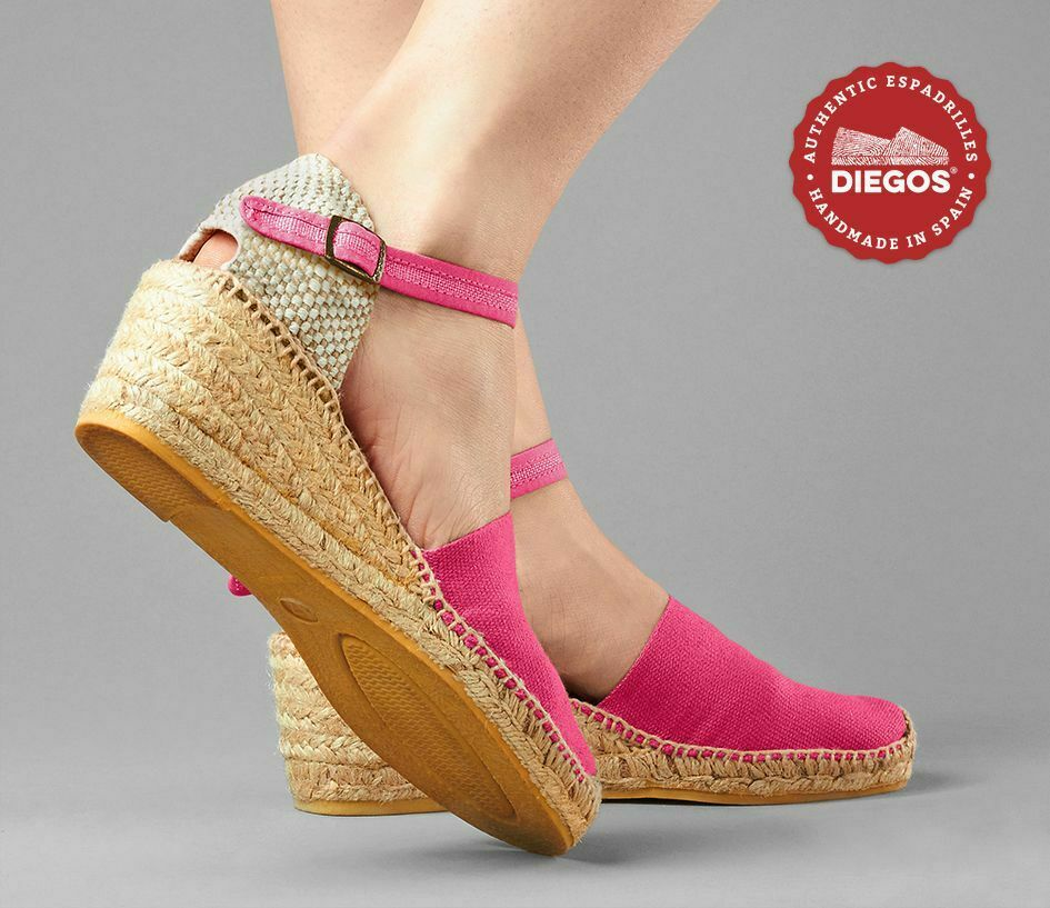 Diegos® Authentic fuchsia Carmen high wedge espadrilles     Hand made in Spain 396389