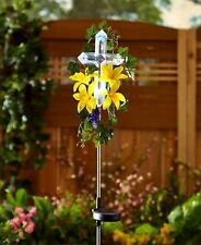 Solar Lighted Cross W/Yellow Lily Flowers Garden Stake Memorial Yard Lawn Decor