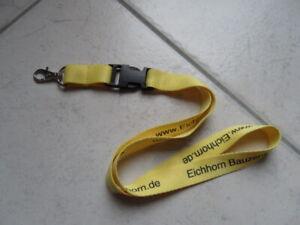 Schlüsselband Lanyard Werbung Eichhorn Baumarkt gelb mit Karabinerhaken