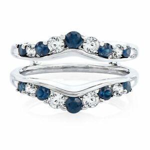 Solitaire-Enhancer-White-Diamond-Ring-amp-Sapphire-Guard-Wrap-14k-White-Gold-FN