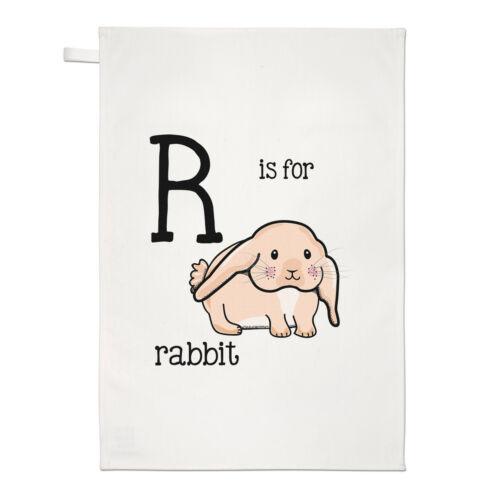 Lettre R est pour lapin Thé Serviette Plat Tissu-Alphabet Mignon