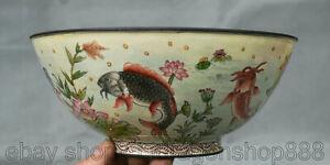 """6,8 """"Qianlong porcelaine cloisonné émail dynastie poisson bol de bols de Lotus"""