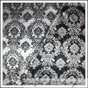 BonEful-Fabric-LOT-5-Yds-B-amp-W-Black-White-Flower-Toile-Damask-Silky-Decor-54-034-OOP