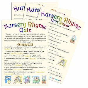 NURSERY-RHYME-QUIZ-Baby-Shower-Game-10-or-20-Party-Players-Unisex-Boy-Girl