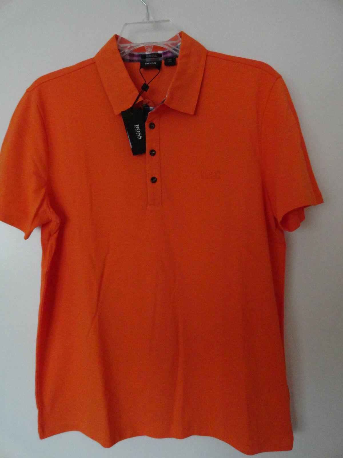 NWT HUGO BOSS  FIRENZE 27  MEN'S LOGO POLO SHIRT COTTON BRIGHT orange