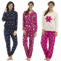 Ladies Pyjamas Set FLEECE Long Sleeve Bottoms WINTER WARM  Pjs Lounge 34B180