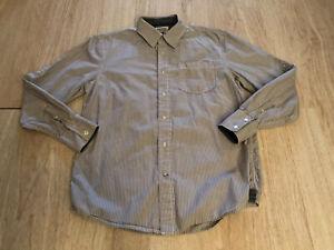 American-Rag-White-Blue-Striped-Cotton-Button-Down-Men-039-s-Size-M-Shirt