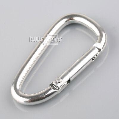 "2-10pcs 2.3"" Aluminum Carabiner D-Ring Key Chain / Clip / Hook Black/Silver"