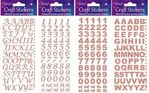 Rose-Gold-Self-Adhesive-Glitter-Alphabet-Or-Number-Stickers-Sheet-For-Craft